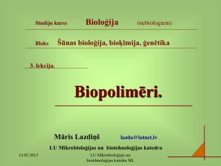 3. lekcija. Biopolimēri.
