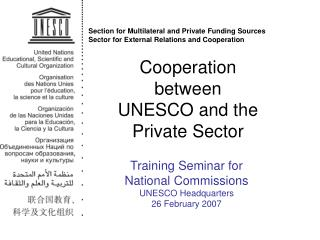 Cooperation between  UNESCO and the Private Sector