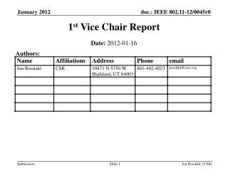 1 st  Vice Chair Report