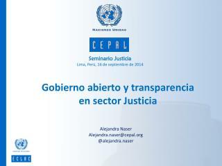 Seminario Justicia Lima, Perú, 16 de septiembre de 2014