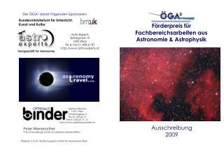 Förderpreis für Fachbereichsarbeiten aus Astronomie & Astrophysik