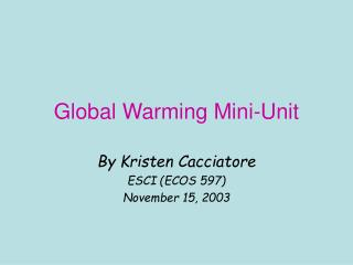 Global Warming Mini-Unit