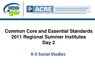 Common Core and Essential Standards  2011 Regional Summer Institutes  Day 2  K-5 Social Studies