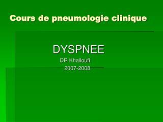 Cours de pneumologie clinique
