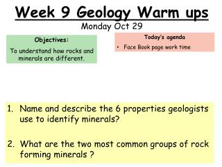 Week 9 Geology Warm ups Monday Oct 29