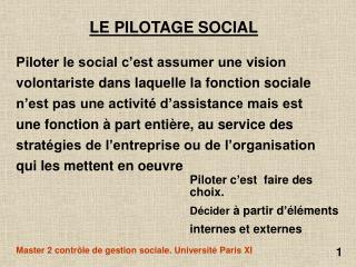 LE PILOTAGE SOCIAL