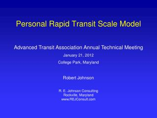 Personal Rapid Transit Scale Model