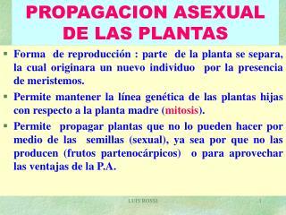 PROPAGACION ASEXUAL DE LAS PLANTAS