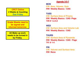 Agenda  3/3-7 MON CW :  Area, Volume, Quiz HW : Weekly Basics / OAS  TUES