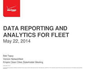 DATA REPORTING AND  ANALYTICS FOR FLEET  May 22, 2014
