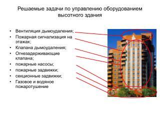 Решаемые задачи по управлению оборудованием высотного здания