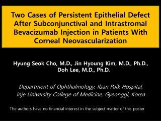 Hyung Seok Cho, M.D., Jin Hyoung Kim, M.D., Ph.D., Doh Lee, M.D., Ph.D.