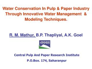 Central Pulp And Paper Research Institute P.O.Box. 174, Saharanpur