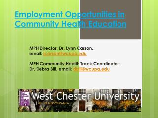 Employment Opportunities in Community Health Education