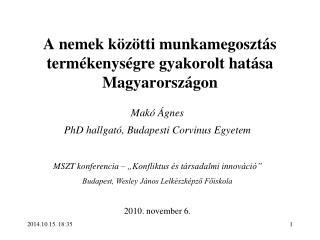 A nemek közötti munkamegosztás termékenységre gyakorolt hatása Magyarországon