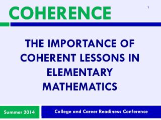 The importance of Coherent Lessons in Elementary Mathematics