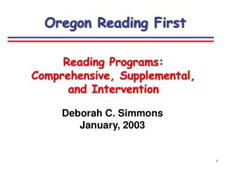 Deborah C. Simmons January, 2003