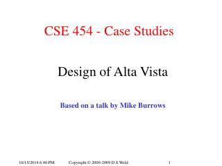 CSE 454 - Case Studies