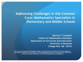 Addressing Challenges in the Common Core: Mathematics Specialists in Elementary and Middle Schools