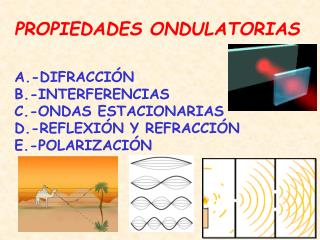 PROPIEDADES ONDULATORIAS A.-DIFRACCI�N B.-INTERFERENCIAS C.-ONDAS ESTACIONARIAS