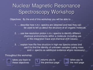 Nuclear Magnetic Resonance Spectroscopy Workshop