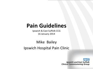 Pain Guidelines Ipswich & East Suffolk CCG 16 January 2014