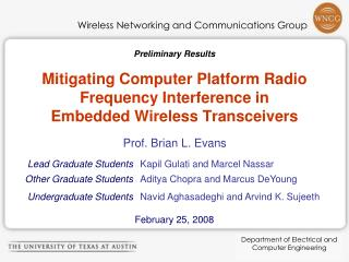 Mitigating Computer Platform Radio Frequency Interference in Embedded Wireless Transceivers