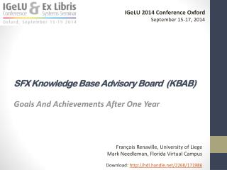 SFX Knowledge Base Advisory Board   (KBAB )