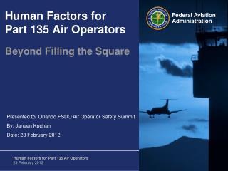 Human Factors for Part 135 Air Operators