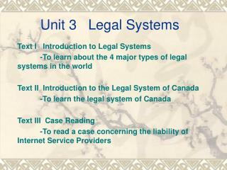 Unit 3   Legal Systems