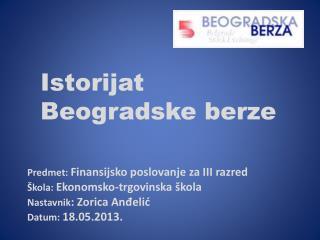 Istorijat Beogradske berze