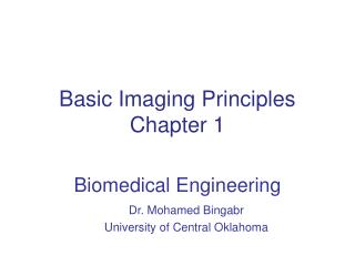 Basic Imaging Principles Chapter 1