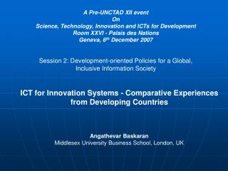 A Pre-UNCTAD XII event On Science, Technology, Innovation and ICTs for Development