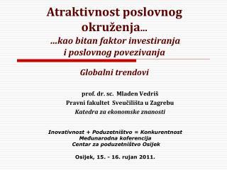 prof. dr. sc.  Mladen Vedriš Pravni fakultet  Sveučilišta u Zagrebu Katedra za ekonomske znanosti