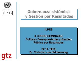 Gobernanza sistémica   y Gestión por Resultados
