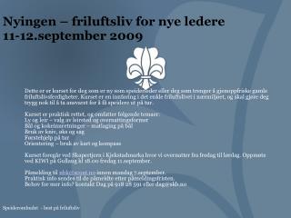 Nyingen – friluftsliv for nye ledere  11-12.september 2009