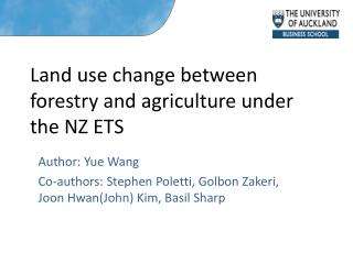 Land use change between forestry and agriculture under the NZ ETS