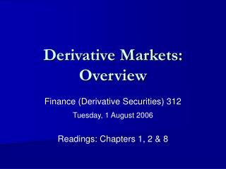 Derivative Markets: Overview