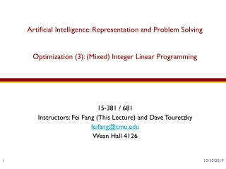 Chapter 29: Linear Programming