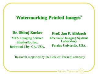 Watermarking Printed Images *