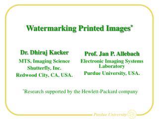 Watermarking Printed Images *