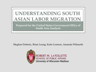 Prepared for the United States Government Office of South Asia Analysis