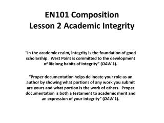 EN101 Composition Lesson 2 Academic Integrity