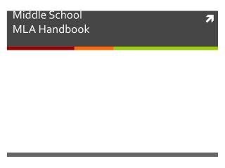 Middle School MLA Handbook