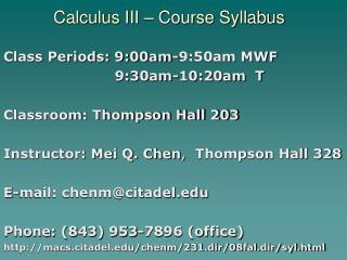 Calculus III – Course Syllabus