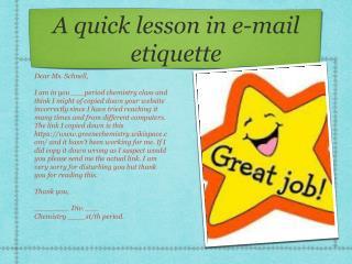 A quick lesson in e-mail etiquette