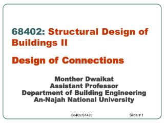 68402: Structural Design of Buildings II