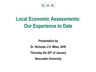 Local Economic Assessments:  Our Experience to Date