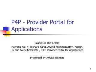 P4P - Provider Portal for Applications