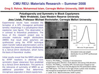 Polydispersity and Symmetry in Block Copolymers  Mark Wrobleski, Case Western Reserve University